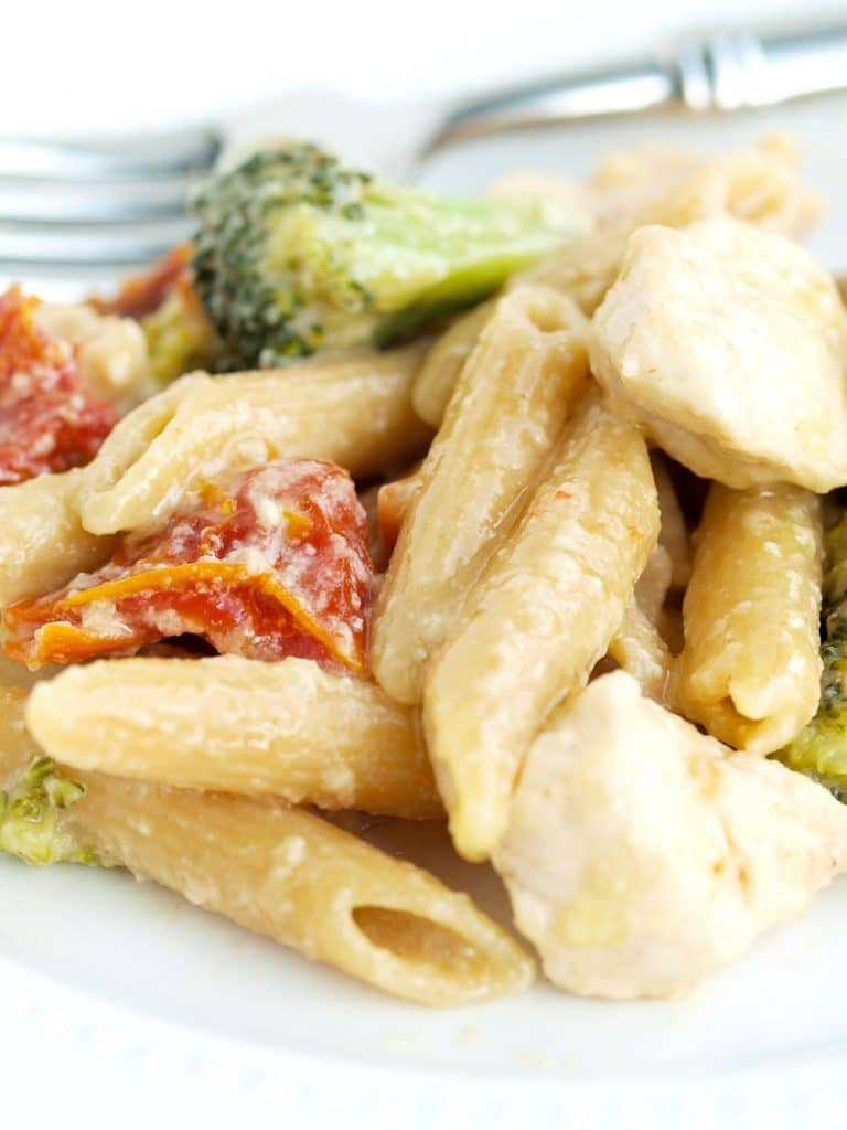 Creamy and Tangy One Pot Pasta Dinner - this is the real deal! An easy to cook meal you can feel good knowing your whole family will love! www.superhealthykids.com
