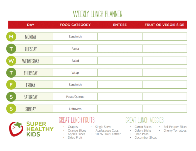 lunch ideas printable