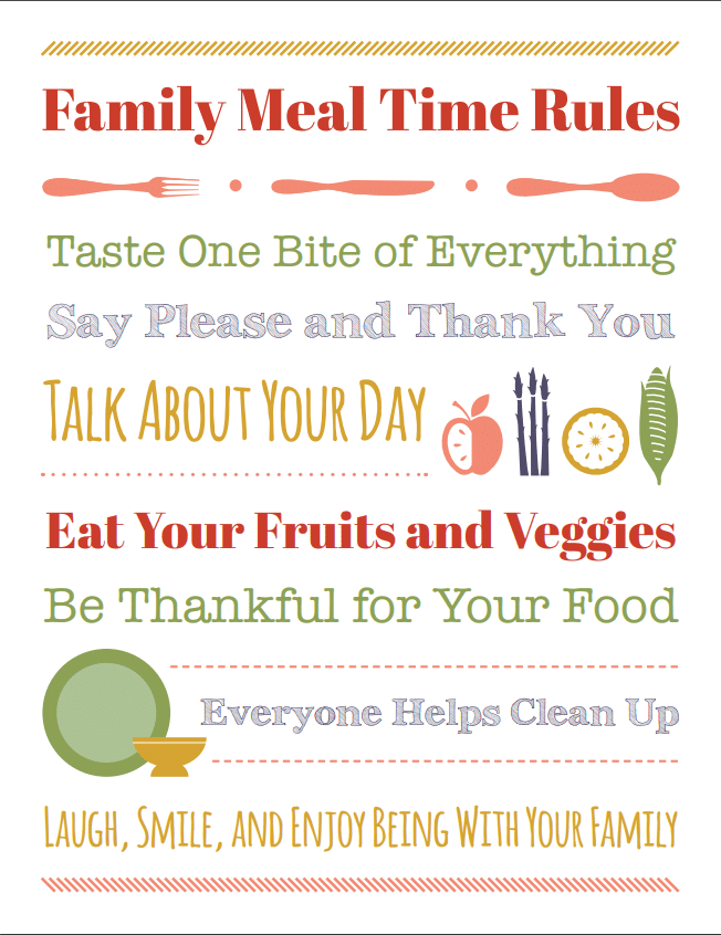 Table Manners For Kids And A Meal Time Rules Printable Healthy