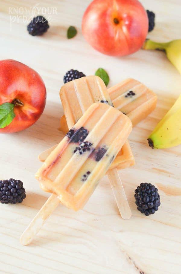 nectarine banana blackberry ice pops