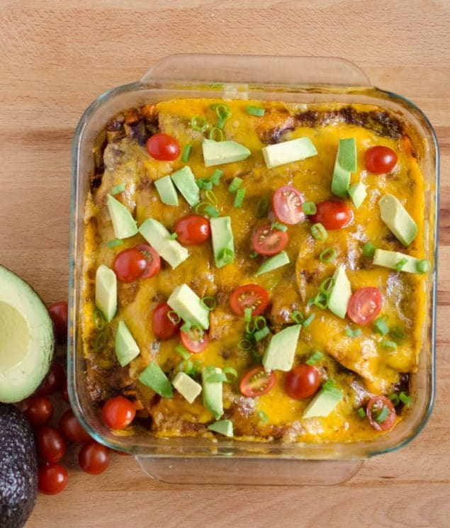 Roasted Sweet Potato and Black Bean Enchilada recipe. www.superhealthykids.com