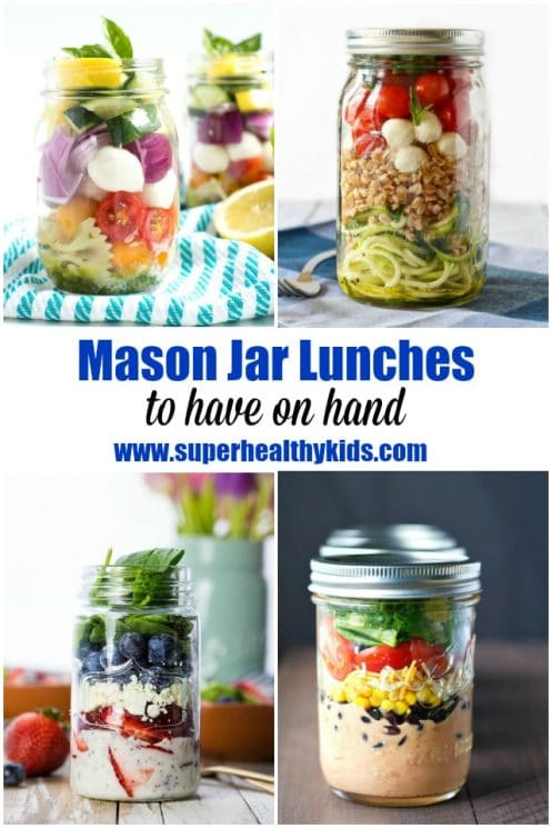 FOOD - 10 Mason Jar Lunches to Have on Hand. We LOVE mason jars - especially to pre-make our lunches to have on hand. https://www.superhealthykids.com/10-mason-jar-lunches-hand/