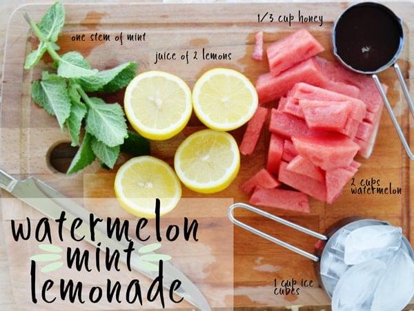 Watermelon Mint Lemonade - sweetened with honey