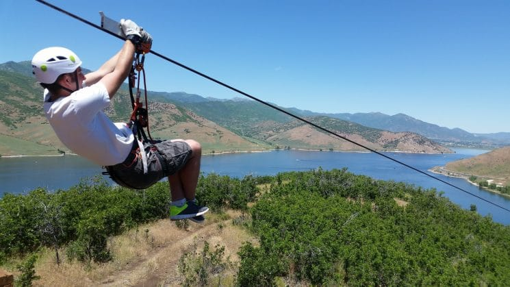 Zipline Utah over Deer Creek Things to do in heber valley utah
