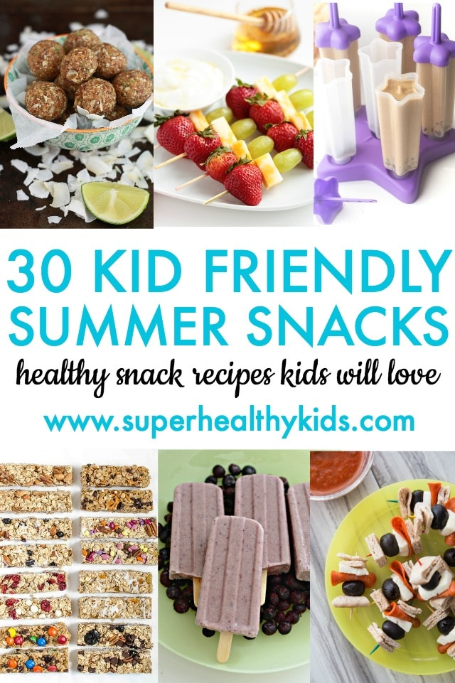 30 Kid Friendly Summer Snacks - Fun and healthy snack ideas for kids! Perfect for summer snacking. www.superhealthykids.com