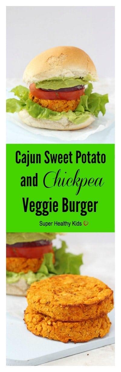Cajun Sweet Potato and Chickpea Veggie Burger. Delicious veggie burgers packed with sweet potato and chickpeas and lightly spiced with cajun seasoning.