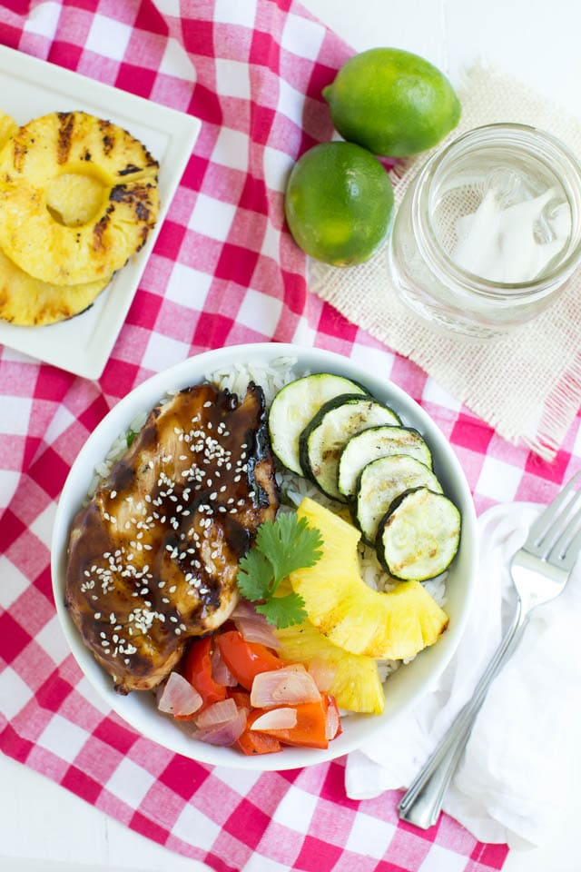 Grilled Teriyaki Chicken and Rice Bowls with grilled fresh vegetables and pineapple is the perfect summer meal! www.superhealthykids.com
