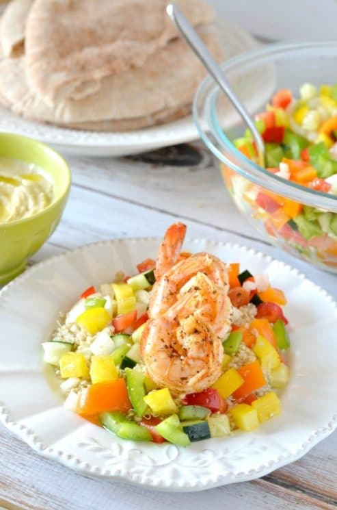 Shrimp with Israeli Pepper Salad