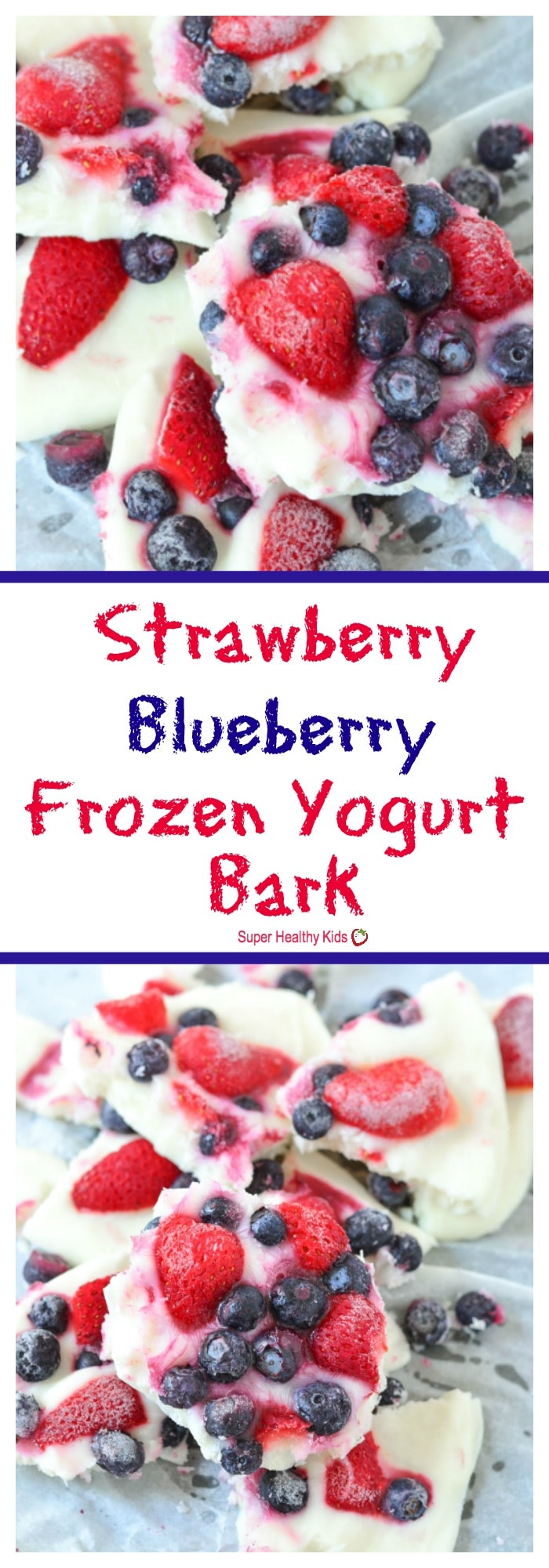 FOOD - Strawberry Blueberry Frozen Yogurt Bark. A healthy and refreshing frozen treat for summer. Super easy to make, and a great thing to have in your freezer for an afternoon snack. https://www.superhealthykids.com/strawberry-blueberry-frozen-yogurt-bark/