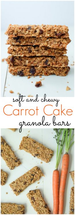 FOOD - Healthy Carrot Cake Granola Bars. We love these healthy, soft carrot cake granola bars - they're tasty and include a vegetable! High in protein and fiber, this snack will keep you full! https://www.superhealthykids.com/healthy-carrot-cake-granola-bars-recipe/