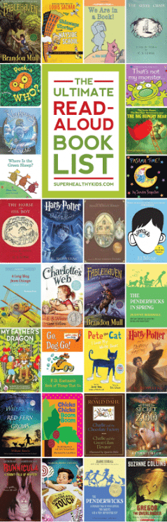 The Ultimate Read-Aloud Book Guide. This is the ultimate guide for book ideas to read aloud to your kids of all ages. You will want to PIN this one for sure! https://www.superhealthykids.com/ultimate-read-aloud-book-guide/