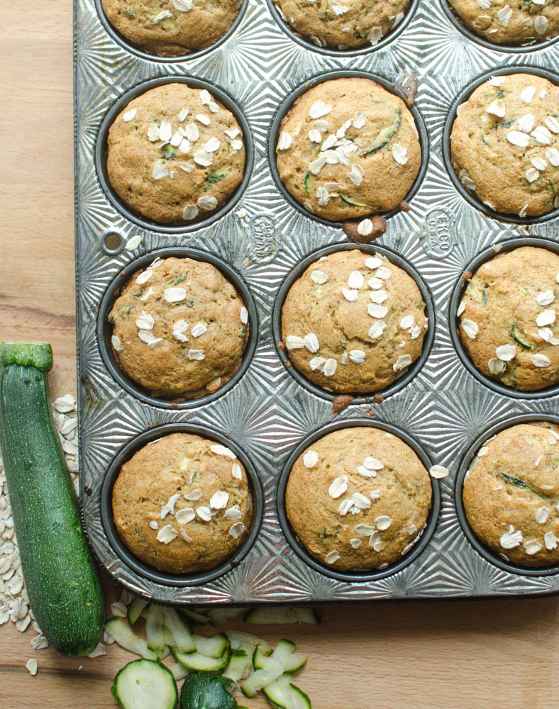 Healthy Zucchini Oat Muffins. Here's what you are going to love about them: they are made with whole grains, they are naturally sweetened, and they have vegetables in them!