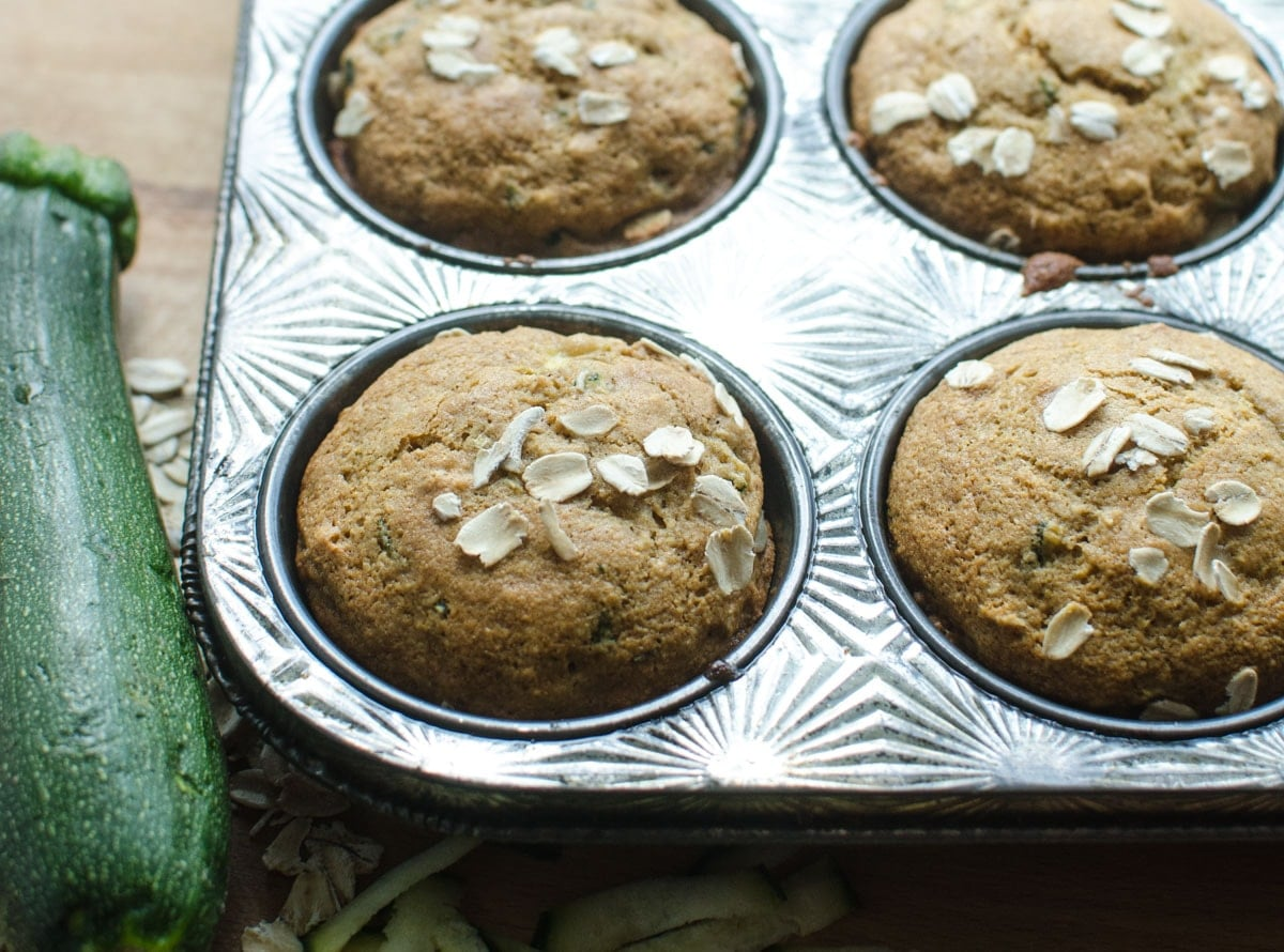 Healthy Zucchini Oat Muffins. Healthy Zucchini Oat Muffins. Here's what you are going to love about them: they are made with whole grains, they are naturally sweetened, and they have vegetables in them!
