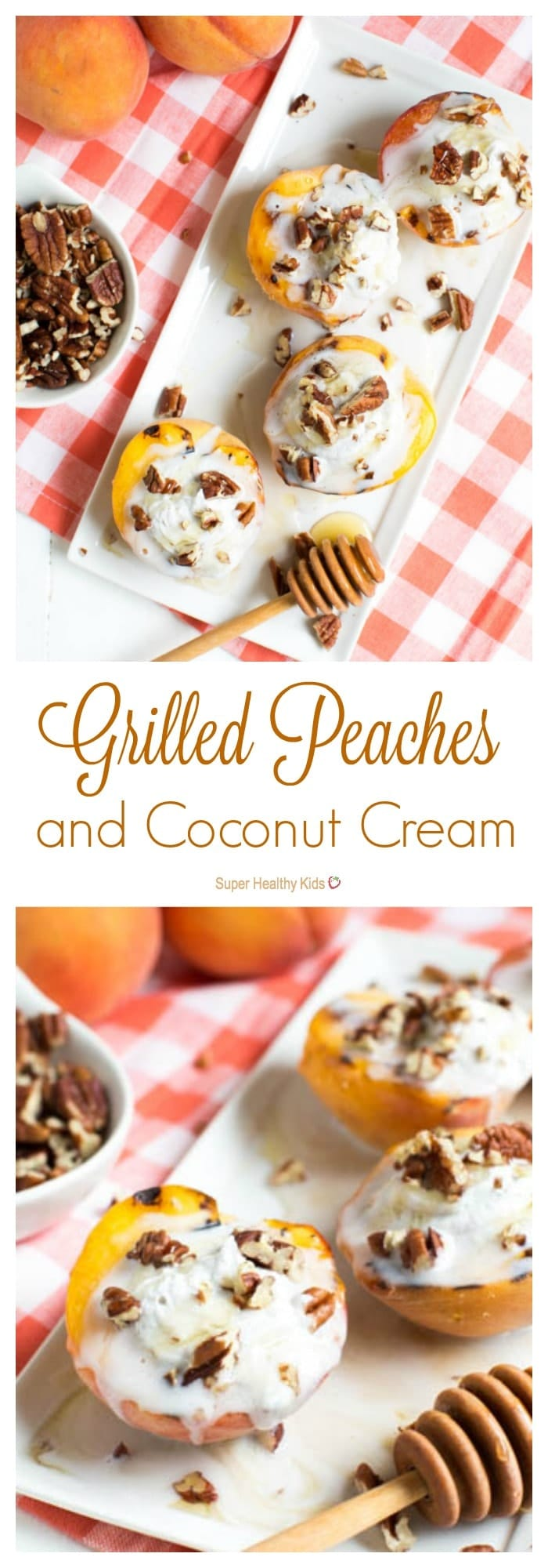 Grilled Peaches and Coconut Cream. Peaches and cream with a delicious twist that is the perfect addition to any Summer barbeque. http://www.superhealthykids.com/grilled-peaches-coconut-cream/