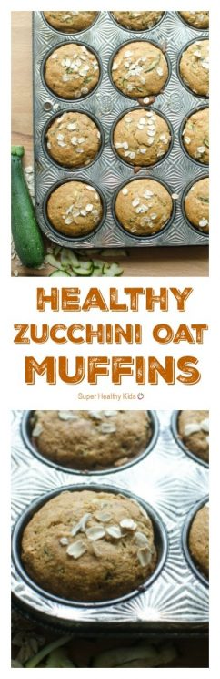 Healthy Zucchini Oat Muffins. Here's what you are going to love about them: they are made with whole grains, they are naturally sweetened, and they have vegetables in them! https://www.superhealthykids.com/healthy-zucchini-oat-muffins/