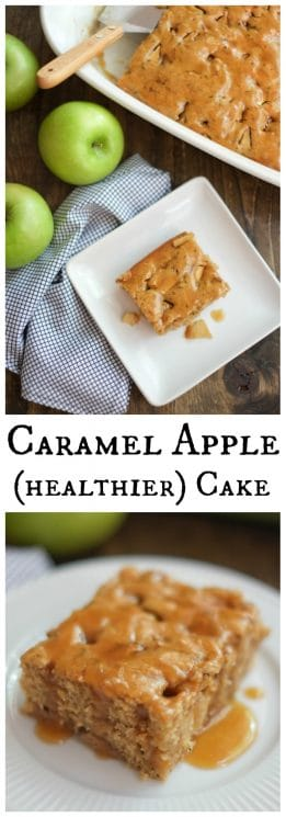 Healthier Caramel Apple Cake. This caramel apple cake tastes like a cross between a caramel apple and coffee cake - but with half the sugar and fat of similar recipes! https://www.superhealthykids.com/healthier-caramel-apple-cake-recipe/