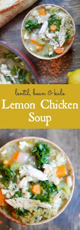 Lemon Chicken Soup with Lentils, Kale, & Beans. This soup contains a double dose of one of our favorite things! https://www.superhealthykids.com/lemon-chicken-soup-lentils-kale-beans-recipe/