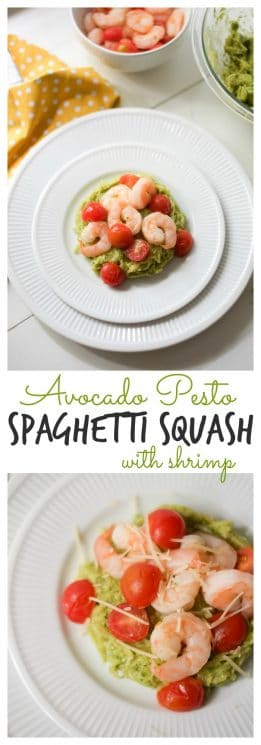 Avocado Pesto Spaghetti Squash. The quickest, easiest trick to cooking spaghetti squash. https://www.superhealthykids.com/avocado-pesto-spaghetti-squash-recipe/