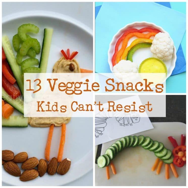 13 veggie snacks for kids collage