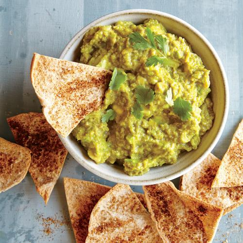 pea hummus with tortilla chips