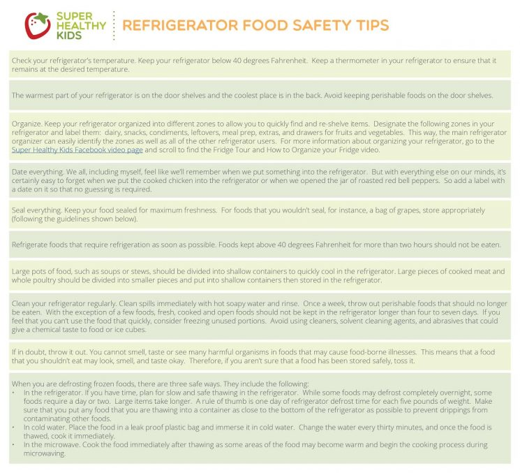 Refrigerator Food Storage Guide