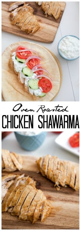 FOOD - Oven Roasted Chicken Shawarma. Flavorful oven roasted chicken shawarma pairs perfectly with refreshing tzaziki! This easy, healthy recipe can be made ahead for a stress-free dinner. https://www.superhealthykids.com/oven-roasted-chicken-shawarma-recipe/