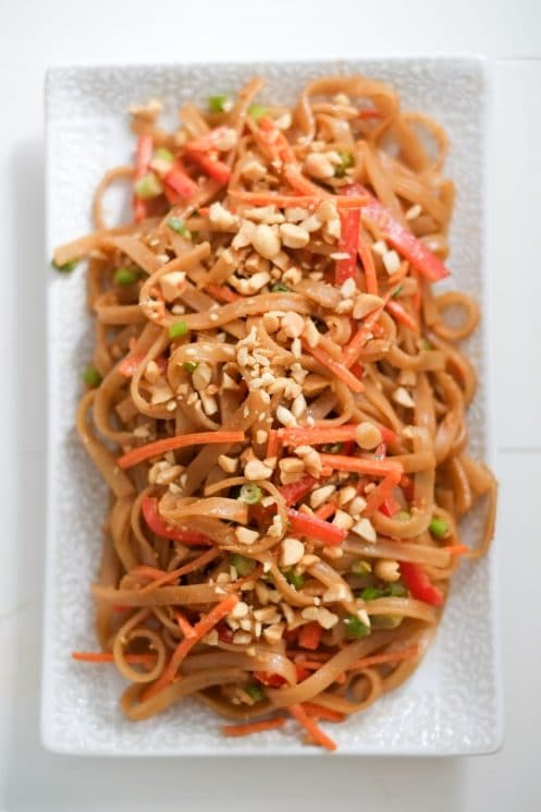 Peanut Sesame Noodles and Veggies. These peanut sesame noodles are ready in less time than it takes to order takeout (only 10 minutes!). Bonus: they include a good portion of fresh veggies!