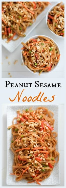FOOD - Peanut Sesame Noodles and Veggies. These peanut sesame noodles are ready in less time than it takes to order takeout (only 10 minutes!). Bonus: they include a good portion of fresh veggies! https://www.superhealthykids.com/peanut-sesame-noodles-recipe/