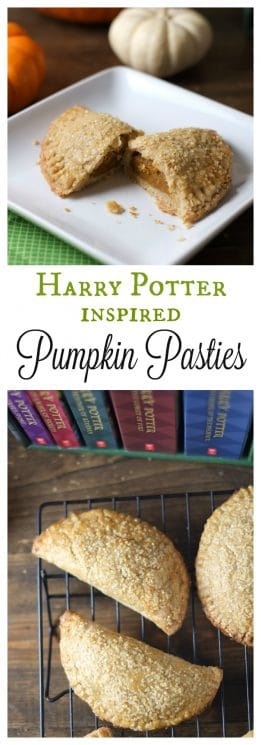 Harry Potter Inspired Pumpkin Pasties. We love these pumpkin pasties, inspired by the Harry Potter series! These delicious hand pies have a sweet pumpkin filling with a crispy, flaky crust. https://www.superhealthykids.com/harry-potter-inspired-pumpkin-pasties-recipe/