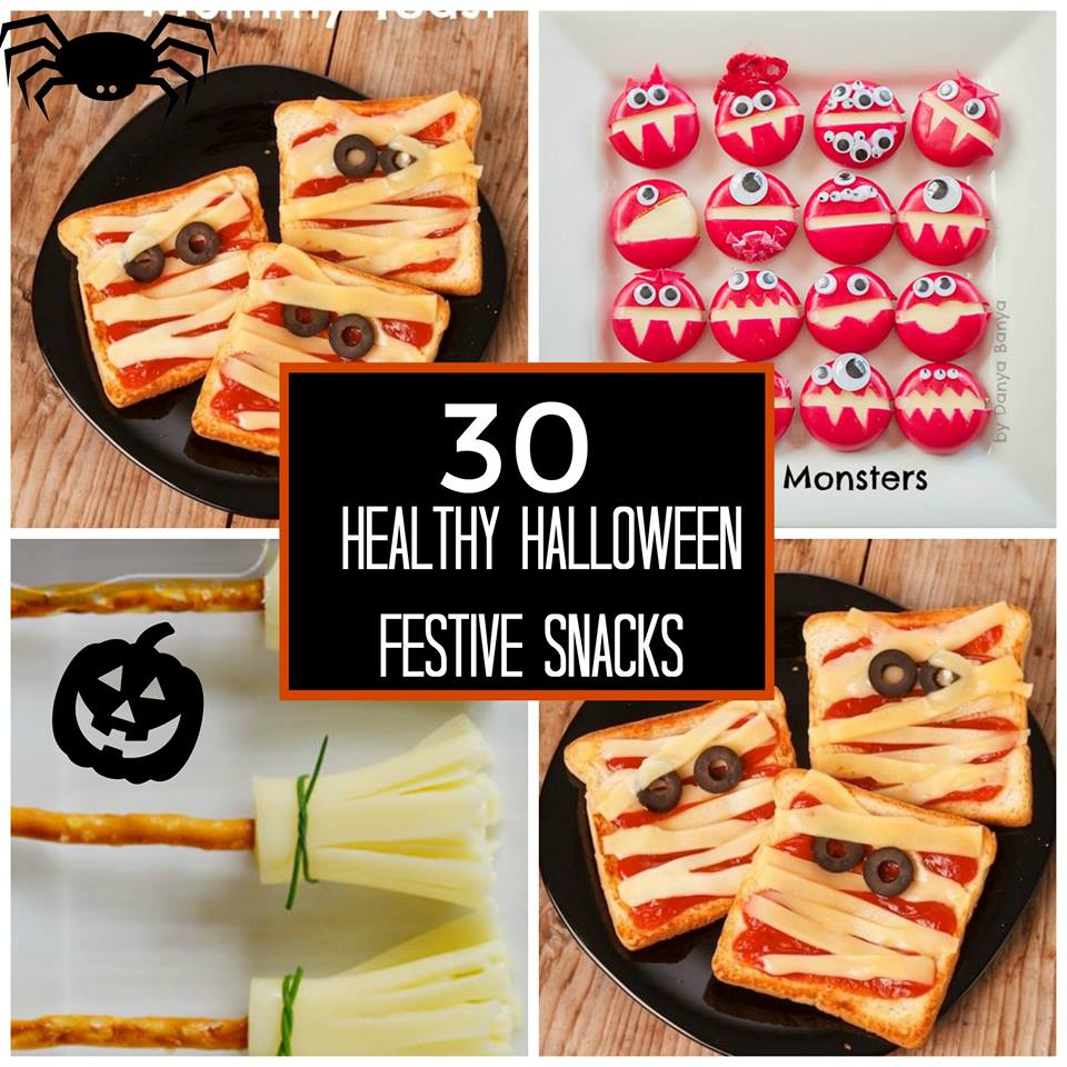 30 Healthy and Festive Halloween Treats. We have 30 healthy Halloween treats to use at home, for Halloween parties, or as an alternative to candy for trick-or-treating. http://www.superhealthykids.com/30-healthy-festive-halloween-treats/