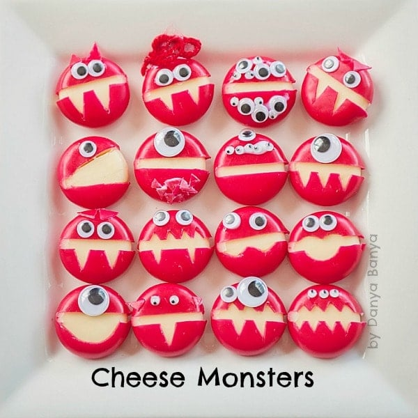 Cheese monsters made from babybel wax-covered cheese and googly eyes