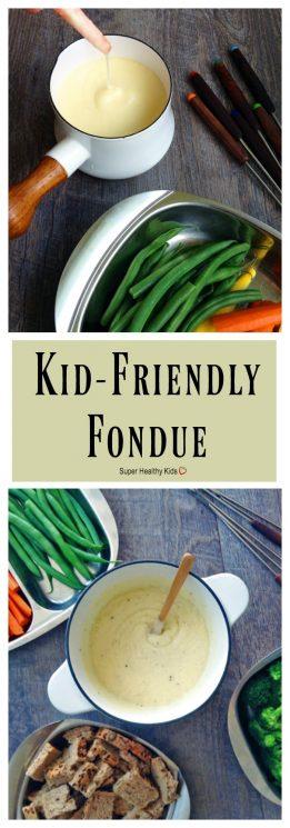 FOOD - Kid-Friendly Fondue. A few simple changes turn classic Swiss fondue into a kid-friendly, fun family dinner! https://www.superhealthykids.com/kid-friendly-fondue/