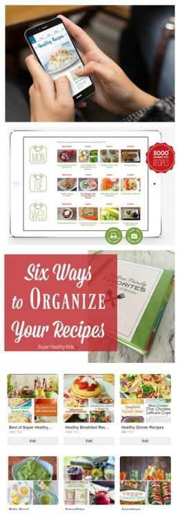 Six Ways to Organize Your Recipes. Recipe organization is a time saving kitchen essential. We have six ways to help you with recipe organization to help you declutter your recipe stash. https://www.superhealthykids.com/six-ways-organize-recipes/