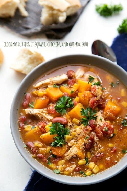 Crockpot Butternut Squash, Chicken and Quinoa Soup