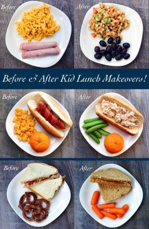 Before and After Kid Lunch Makeovers. Photo inspiration and practical tips for adding great nutrition to kid lunches! Try these easy, healthful ingredient swaps. https://www.superhealthykids.com/before-and-after-kid-lunch-makeovers/
