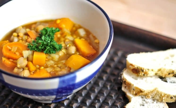 Crockpot Red Lentil Chickpea Squash Soup