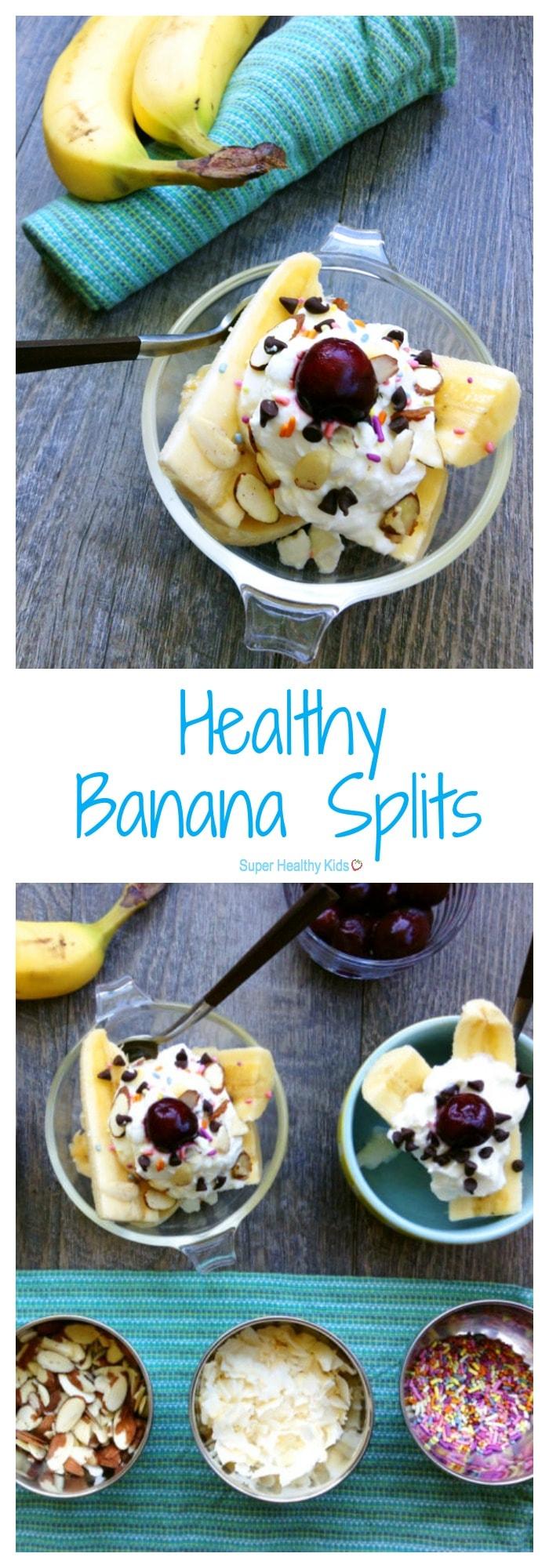 FOOD - Healthy Banana Splits. Turn a traditionally-decadent dessert into a healthful snack with whole milk yogurt, fruit, seeds and dark chocolate chips! https://www.superhealthykids.com/kids-favorite-healthy-banana-split/