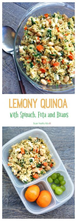 Lemony Quinoa with Spinach, Feta and Beans. Mediterranean flavors inspire this hearty, one-pot Meatless Monday meal. Make this Lemony Quinoa with Spinach, Feta and Beans this week. https://www.superhealthykids.com/lemony-quinoa-spinach-feta-beans/