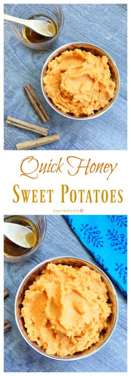 Quick Honey Sweet Potatoes. Delicious twist on this classic side dish! https://www.superhealthykids.com/quick-honey-sweet-potatoes/
