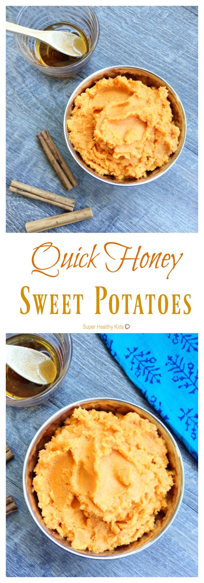 Quick Honey Sweet Potatoes. Delicious twist on this classic side dish! http://www.superhealthykids.com/quick-honey-sweet-potatoes/