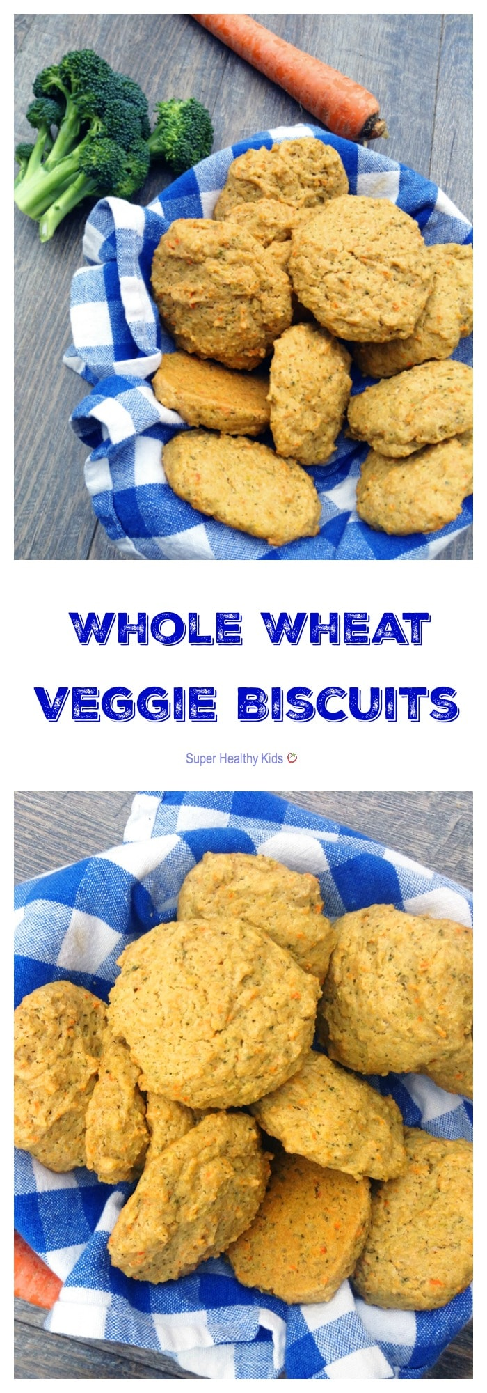 Whole Wheat Veggie Biscuits. Bust picky eating with these buttery whole wheat biscuits packed with broccoli and carrots! https://www.superhealthykids.com/broccoli-and-carrot-biscuits/