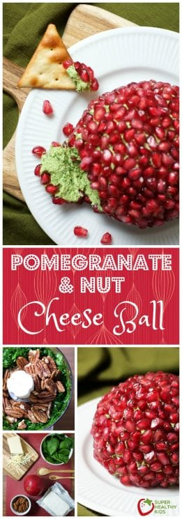 Pomegranate and Nut Cheese Ball | Holiday | Super Healthy Kids | Food and Drink https://www.superhealthykids.com/pomegranate-nut-cheese-ball-recipe/