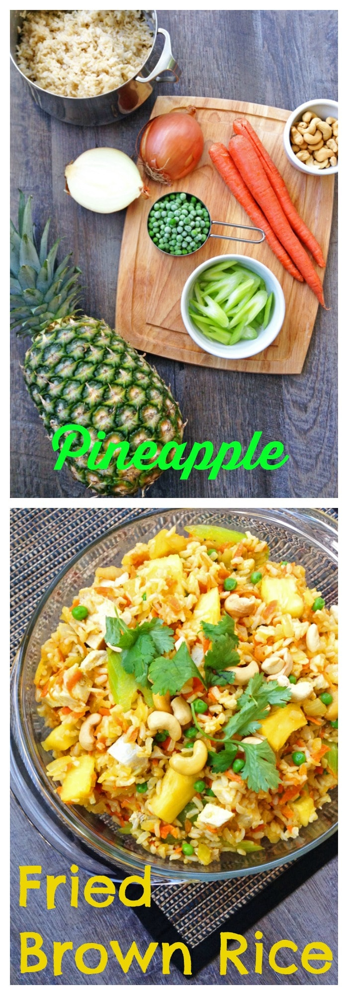 FOOD - Pineapple Fried Brown Rice. Sweet and savory whole grain Pineapple Fried Brown Rice packs fruits AND veggies into one main dish. https://www.superhealthykids.com/pineapple-fried-brown-rice/