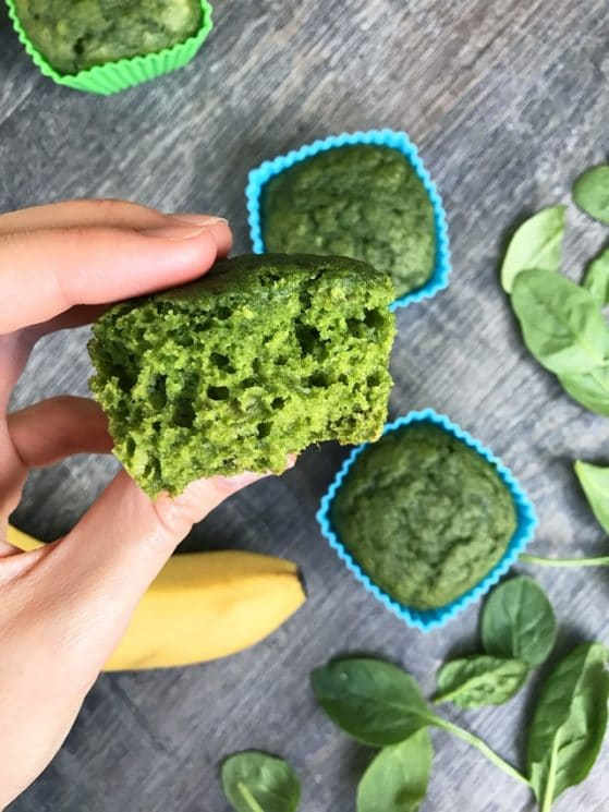 Sweet Spinach Muffins. These kid-favorite muffins are 100% whole wheat, refined-sugar-free, and packed with fresh spinach!