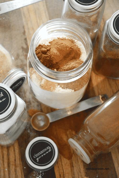 gingerbread playdough ingredients in a jar