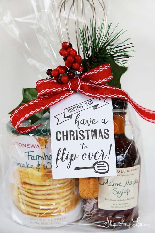 pancake mix and syrup in a bag with a bow