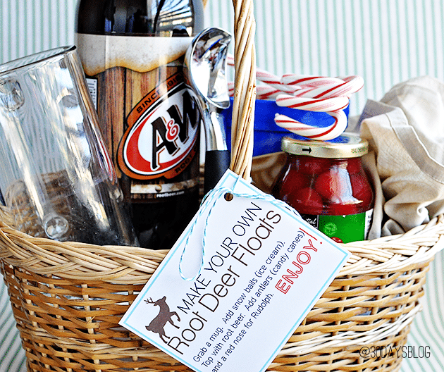 basket with root beer, mugs and ice cream
