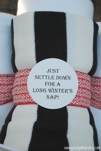 striped blanket with a tag
