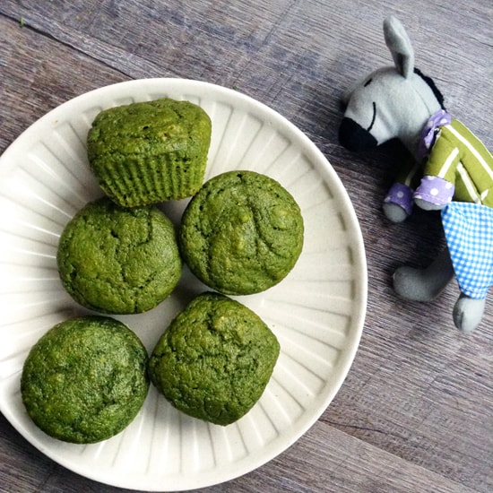 Sweet Spinach Muffins. These kid-favorite green muffins are 100% whole wheat, refined-sugar-free, and packed with fresh spinach!