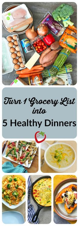 HOUSEHOLD - Turn One Grocery List into Five Healthy Dinners. Cook fresh family dinners each night this week using this guide! One grocery list and consolidated prep makes it easy. https://www.superhealthykids.com/one-grocery-list-five-healthy-dinners/